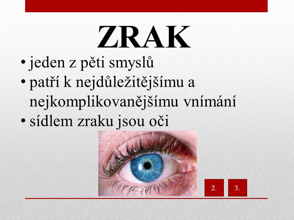 ZRAK jeden z pěti smyslů patří k nejdůležitějšímu a nejkomplikovanějšímu vnímání sídlem zraku jsou oči 2.3.