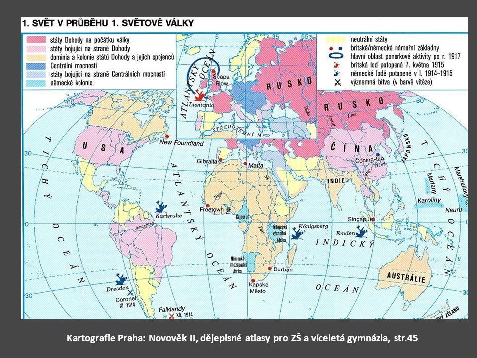 Kartografie Praha: Novověk II, dějepisné atlasy pro ZŠ a víceletá gymnázia, str.45
