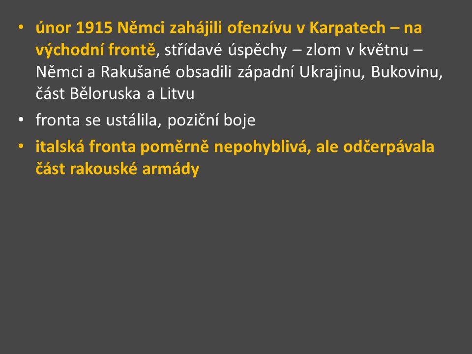 únor 1915 Němci zahájili ofenzívu v Karpatech – na východní frontě, střídavé úspěchy – zlom v květnu – Němci a Rakušané obsadili západní Ukrajinu, Bukovinu, část Běloruska a Litvu fronta se ustálila, poziční boje italská fronta poměrně nepohyblivá, ale odčerpávala část rakouské armády