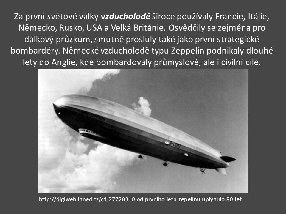 Za první světové války vzducholodě široce používaly Francie, Itálie, Německo, Rusko, USA a Velká Británie. Osvědčily se zejména pro dálkový průzkum, s