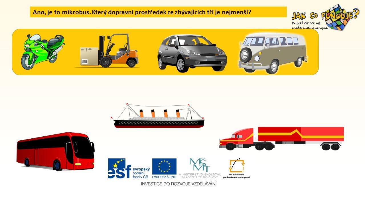 Ano, je to mikrobus. Který dopravní prostředek ze zbývajících tří je nejmenší?