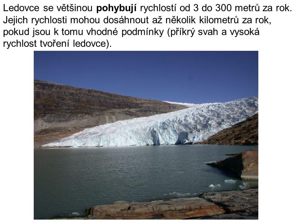 Ledovce se většinou pohybují rychlostí od 3 do 300 metrů za rok.