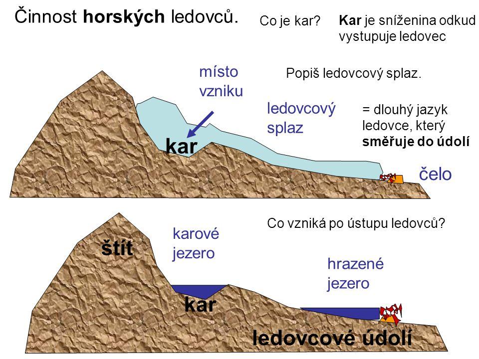 Činnost horských ledovců.