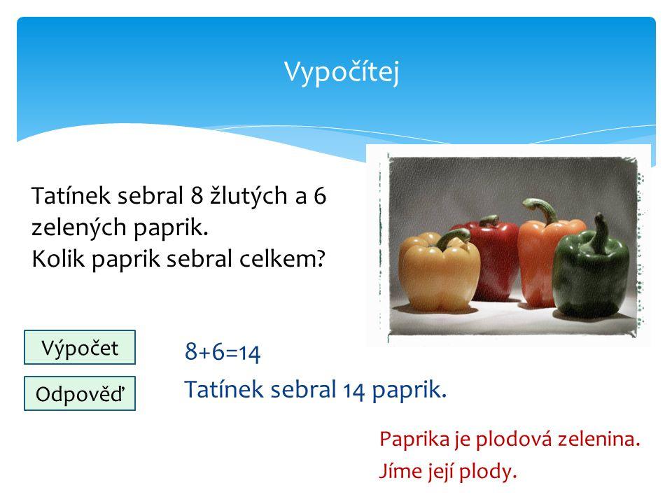 Vypočítej 8+6=14 Tatínek sebral 14 paprik. Paprika je plodová zelenina.