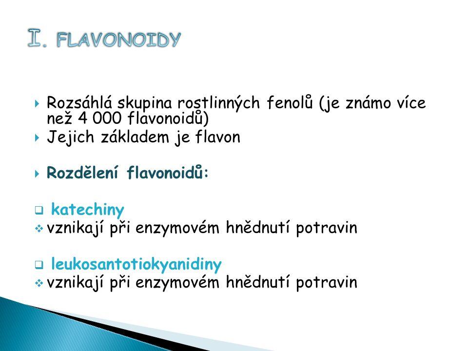  Rozsáhlá skupina rostlinných fenolů (je známo více než 4 000 flavonoidů)  Jejich základem je flavon  Rozdělení flavonoidů:  katechiny  vznikají při enzymovém hnědnutí potravin  leukosantotiokyanidiny  vznikají při enzymovém hnědnutí potravin
