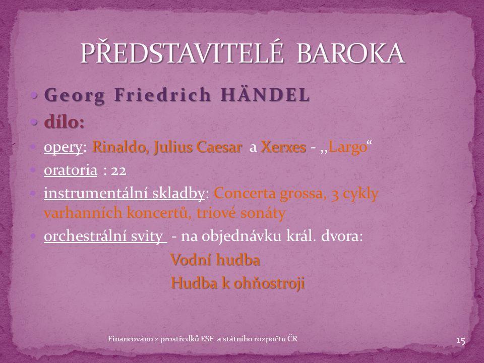Georg Friedrich HÄNDEL Georg Friedrich HÄNDEL 1685 - 1759 1685 - 1759 německým skladatelem komponoval opery v italském duchu 1712 - se usadil natrvalo v Londýně dvorním komponistou, varhanním virtuosem a operním podnikatelem několikrát hospodářský nezdar Žebrácká opera zejména 1728 - Žebrácká opera neměla v Anglii příliš velký úspěch, protože byla naspána na italské libreto a anglické obyvatelstvo mu nerozumělo 14 Financováno z prostředků ESF a státního rozpočtu ČR