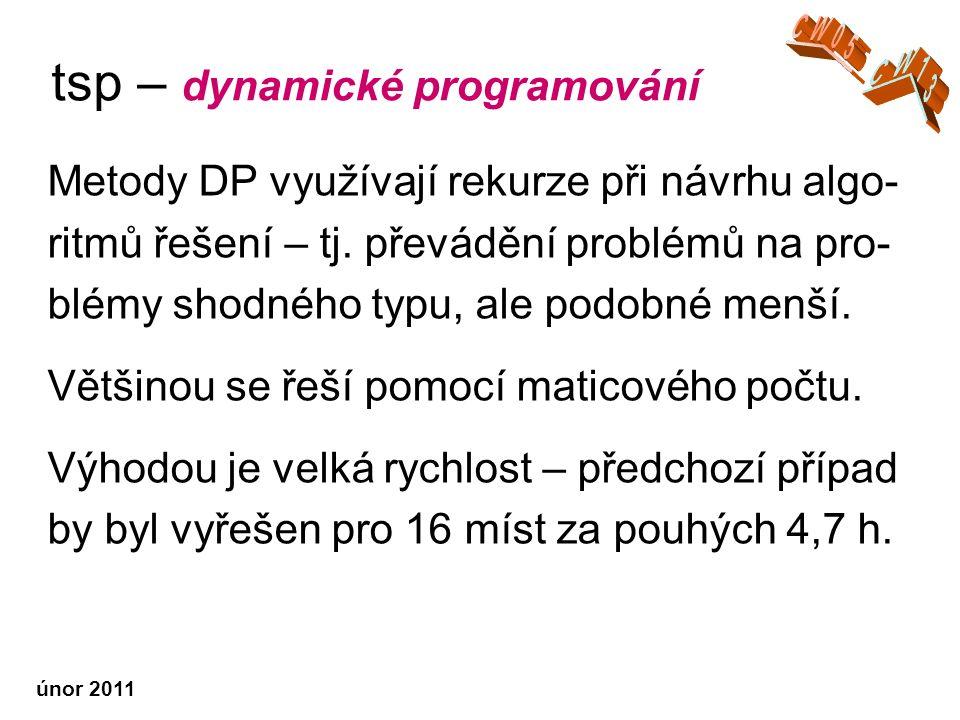 únor 2011 tsp – dynamické programování Metody DP využívají rekurze při návrhu algo- ritmů řešení – tj.