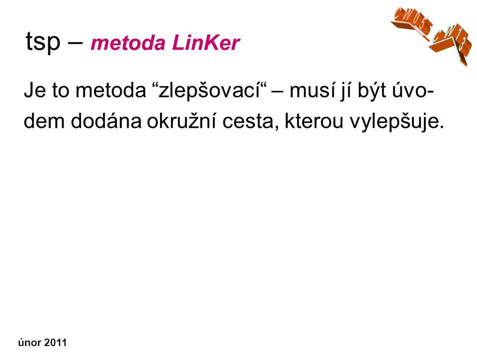 únor 2011 tsp – metoda LinKer Je to metoda zlepšovací – musí jí být úvo- dem dodána okružní cesta, kterou vylepšuje.