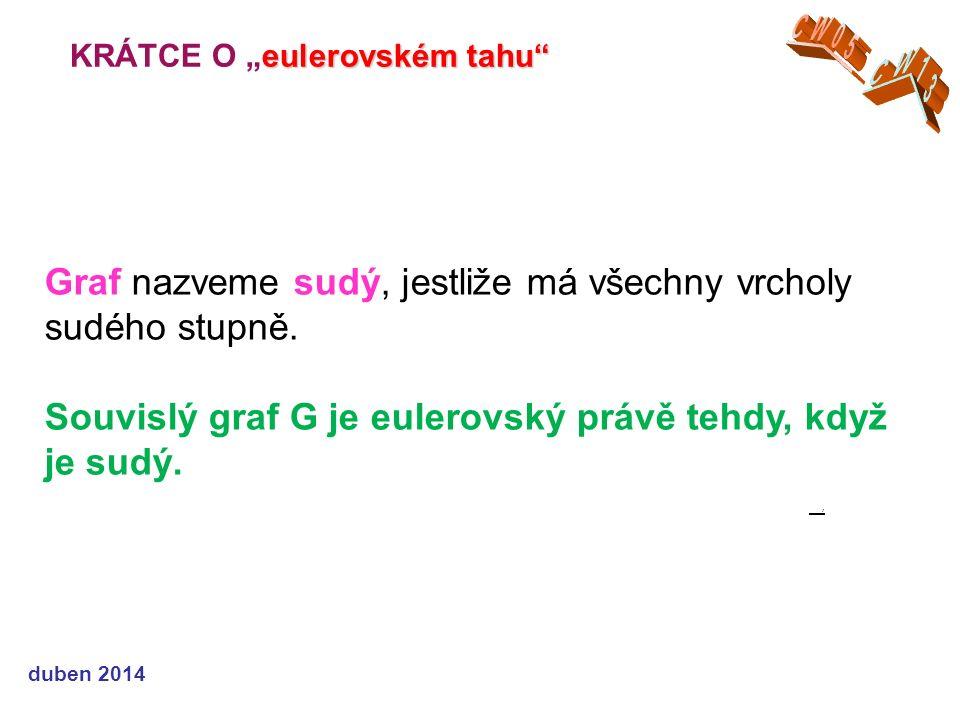 """eulerovském tahu KRÁTCE O """"eulerovském tahu duben 2014 Graf nazveme sudý, jestliže má všechny vrcholy sudého stupně."""