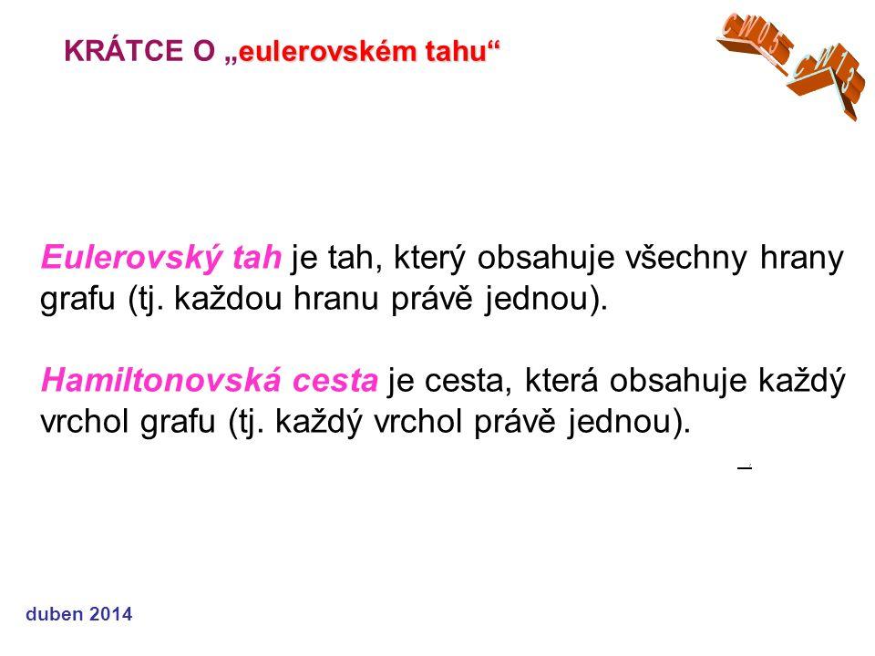 """eulerovském tahu KRÁTCE O """"eulerovském tahu duben 2014 Eulerovský tah je tah, který obsahuje všechny hrany grafu (tj."""
