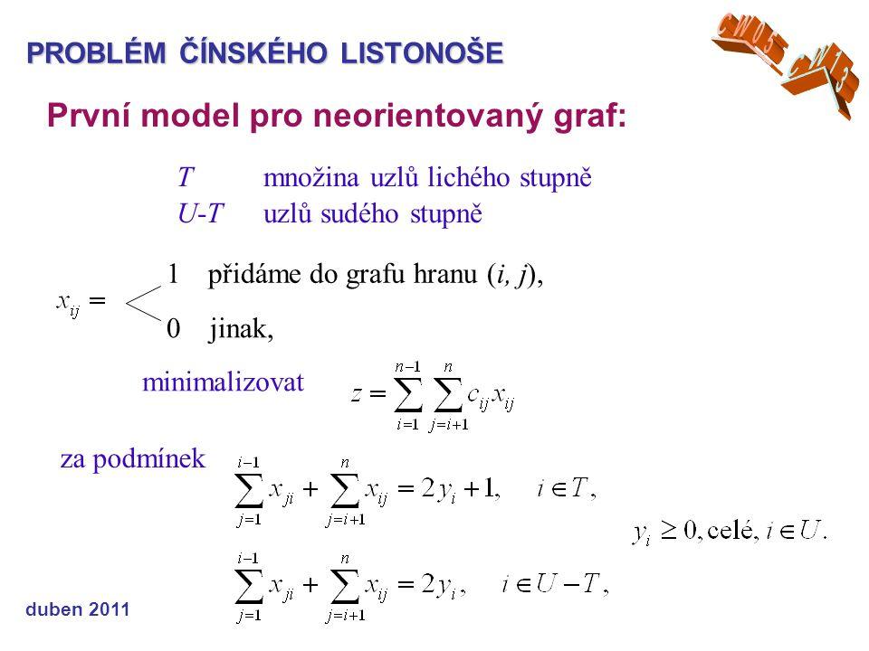 PROBLÉM ČÍNSKÉHO LISTONOŠE První model pro neorientovaný graf: Tmnožina uzlů lichého stupně U-Tuzlů sudého stupně 1 přidáme do grafu hranu (i, j), 0 jinak, minimalizovat za podmínek duben 2011