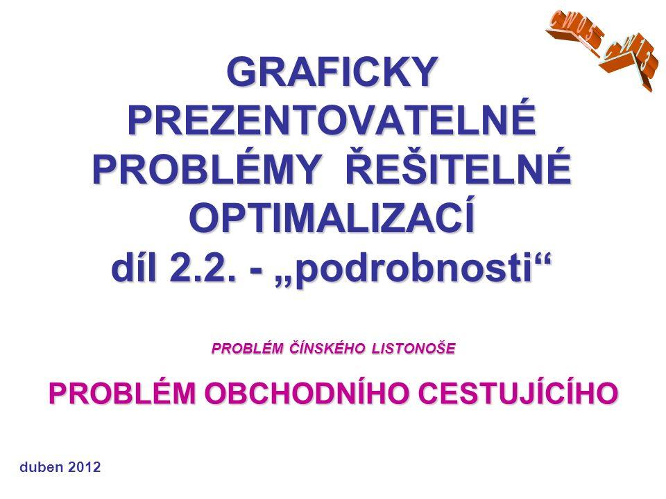 GRAFICKY PREZENTOVATELNÉ PROBLÉMY ŘEŠITELNÉ OPTIMALIZACÍ díl 2.2.