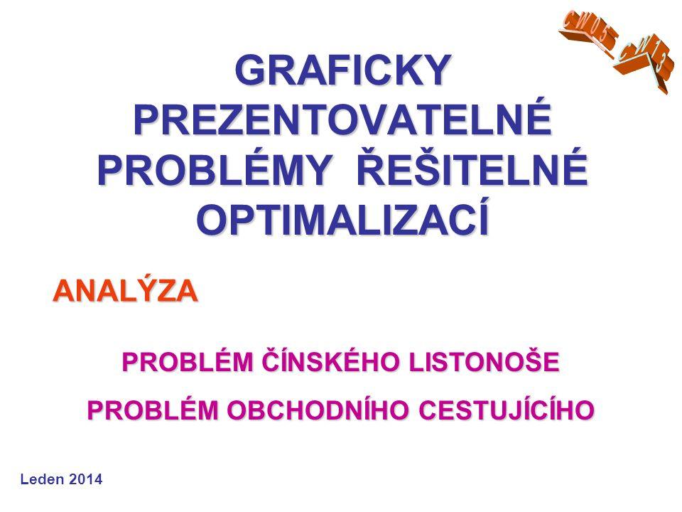 TSP = Traveling Salesman Problem - problém obchodního cestujícího NP = Non-deterministic Polynomial (Problem) = nedeterministicky polynomiální (nedeterministický problém) PROBLÉM OBCHODNÍHO CESTUJÍCÍHO Leden 2012