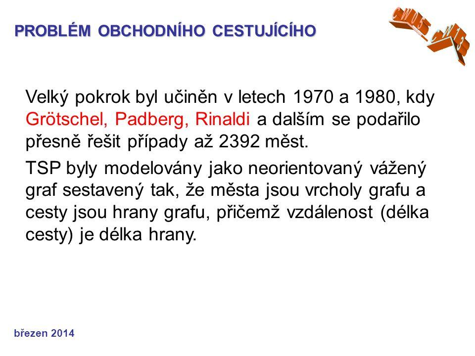 PROBLÉM OBCHODNÍHO CESTUJÍCÍHO Velký pokrok byl učiněn v letech 1970 a 1980, kdy Grötschel, Padberg, Rinaldi a dalším se podařilo přesně řešit případy až 2392 měst.