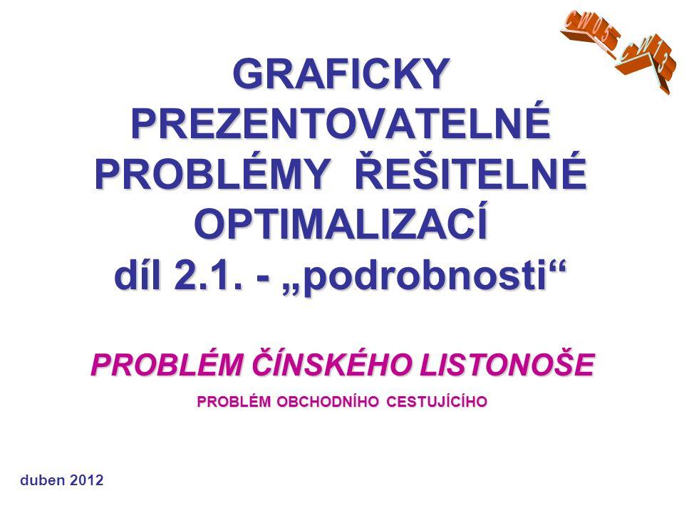 GRAFICKY PREZENTOVATELNÉ PROBLÉMY ŘEŠITELNÉ OPTIMALIZACÍ díl 2.1.