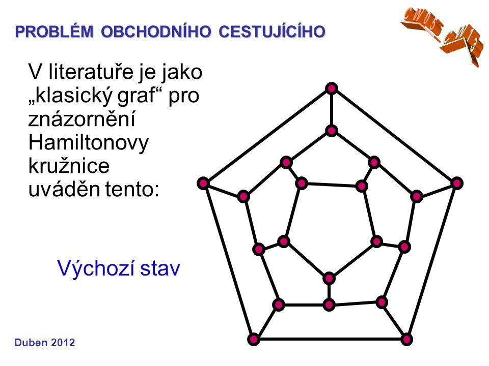 """PROBLÉM OBCHODNÍHO CESTUJÍCÍHO Duben 2012 Výchozí stav V literatuře je jako """"klasický graf pro znázornění Hamiltonovy kružnice uváděn tento:"""