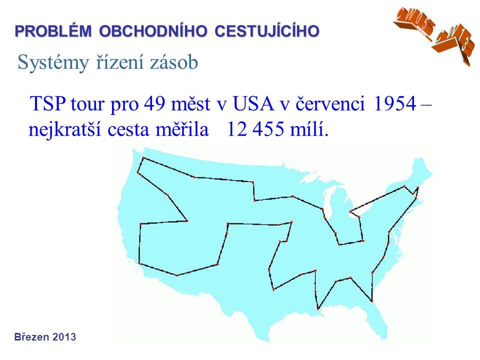 Systémy řízení zásob Březen 2013 TSP tour pro 49 měst v USA v červenci 1954 – nejkratší cesta měřila 12 455 mílí.