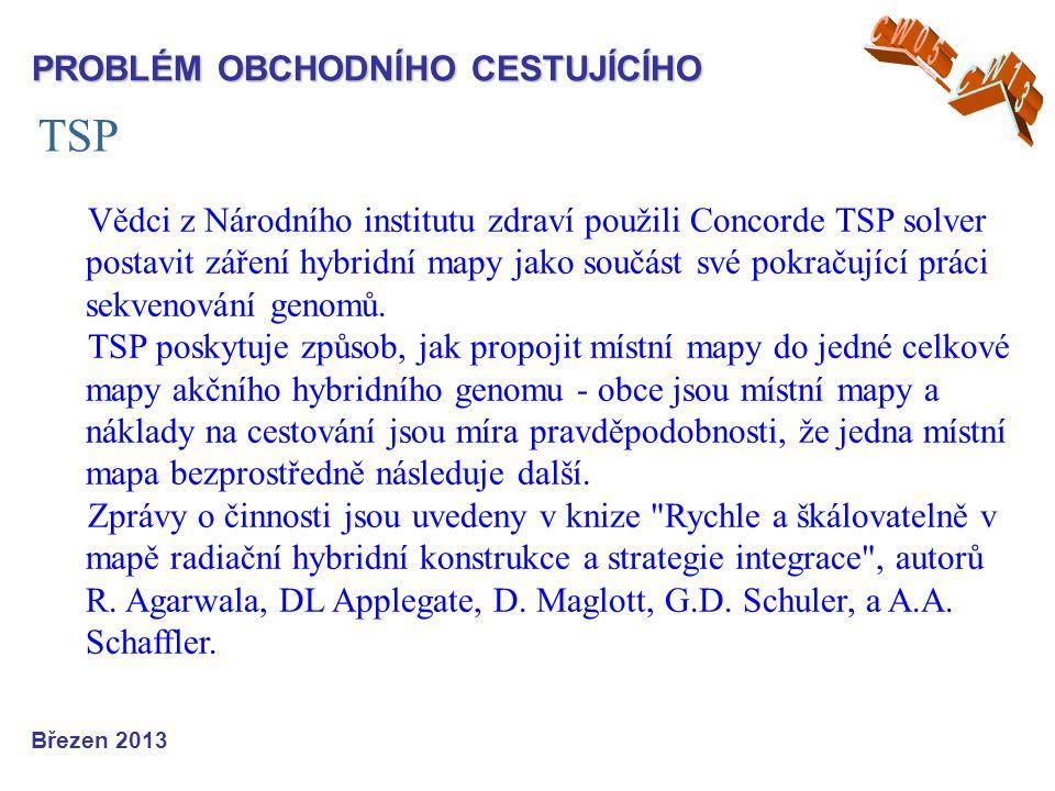 TSP Březen 2013 PROBLÉM OBCHODNÍHO CESTUJÍCÍHO Vědci z Národního institutu zdraví použili Concorde TSP solver postavit záření hybridní mapy jako součást své pokračující práci sekvenování genomů.