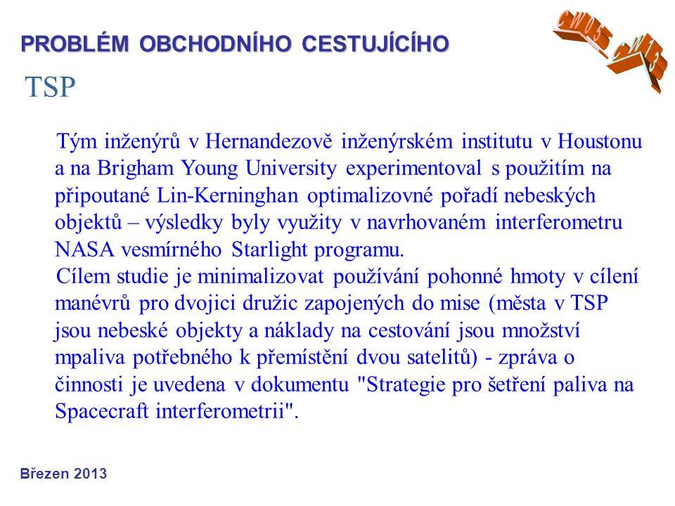 TSP Březen 2013 PROBLÉM OBCHODNÍHO CESTUJÍCÍHO Tým inženýrů v Hernandezově inženýrském institutu v Houstonu a na Brigham Young University experimentoval s použitím na připoutané Lin-Kerninghan optimalizovné pořadí nebeských objektů – výsledky byly využity v navrhovaném interferometru NASA vesmírného Starlight programu.