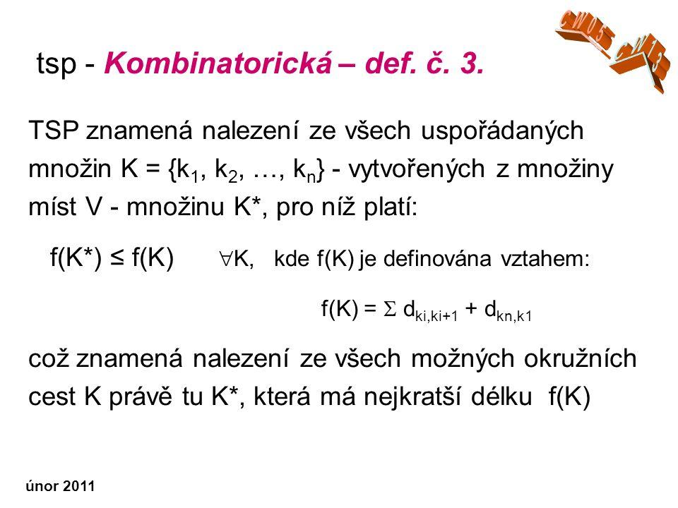únor 2011 TSP znamená nalezení ze všech uspořádaných množin K = {k 1, k 2, …, k n } - vytvořených z množiny míst V - množinu K*, pro níž platí: f(K*) ≤ f(K)  K, kde f(K) je definována vztahem: f(K) =  d ki,ki+1 + d kn,k1 což znamená nalezení ze všech možných okružních cest K právě tu K*, která má nejkratší délku f(K) tsp - Kombinatorická – def.
