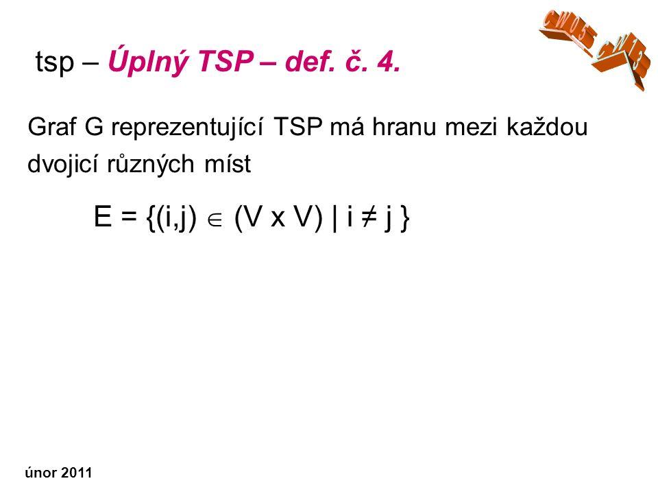 únor 2011 Graf G reprezentující TSP má hranu mezi každou dvojicí různých míst E = {(i,j)  (V x V) | i ≠ j } tsp – Úplný TSP – def.