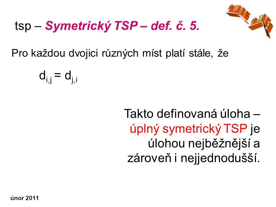 únor 2011 Takto definovaná úloha – úplný symetrický TSP je úlohou nejběžnější a zároveň i nejjednodušší.