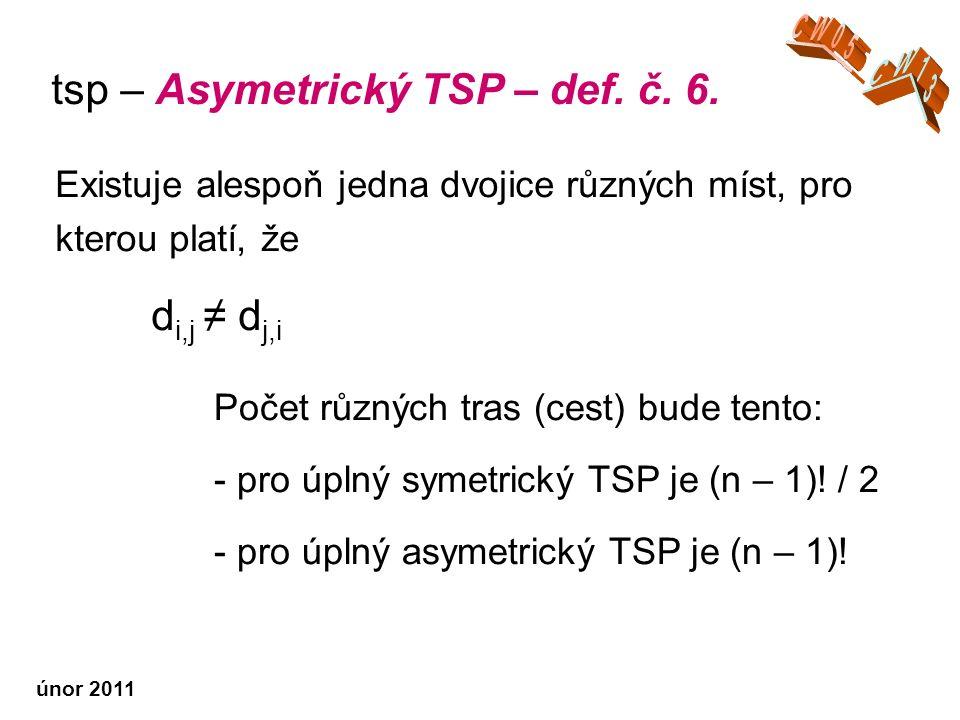 únor 2011 Existuje alespoň jedna dvojice různých míst, pro kterou platí, že d i,j ≠ d j,i tsp – Asymetrický TSP – def.