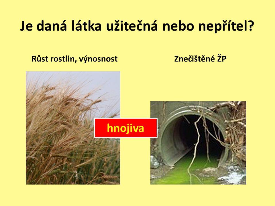 Je daná látka užitečná nebo nepřítel Růst rostlin, výnosnostZnečištěné ŽP hnojiva