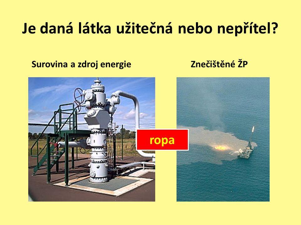 Je daná látka užitečná nebo nepřítel Surovina a zdroj energieZnečištěné ŽP ropa