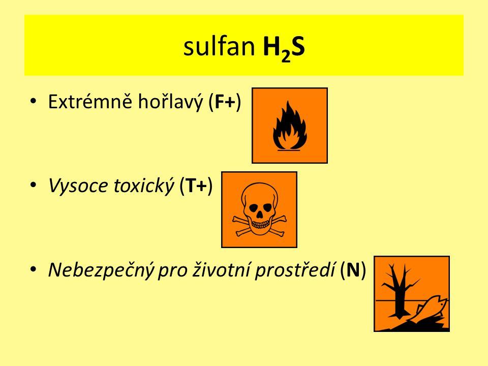 Extrémně hořlavý (F+) Vysoce toxický (T+) Nebezpečný pro životní prostředí (N) sulfan H 2 S