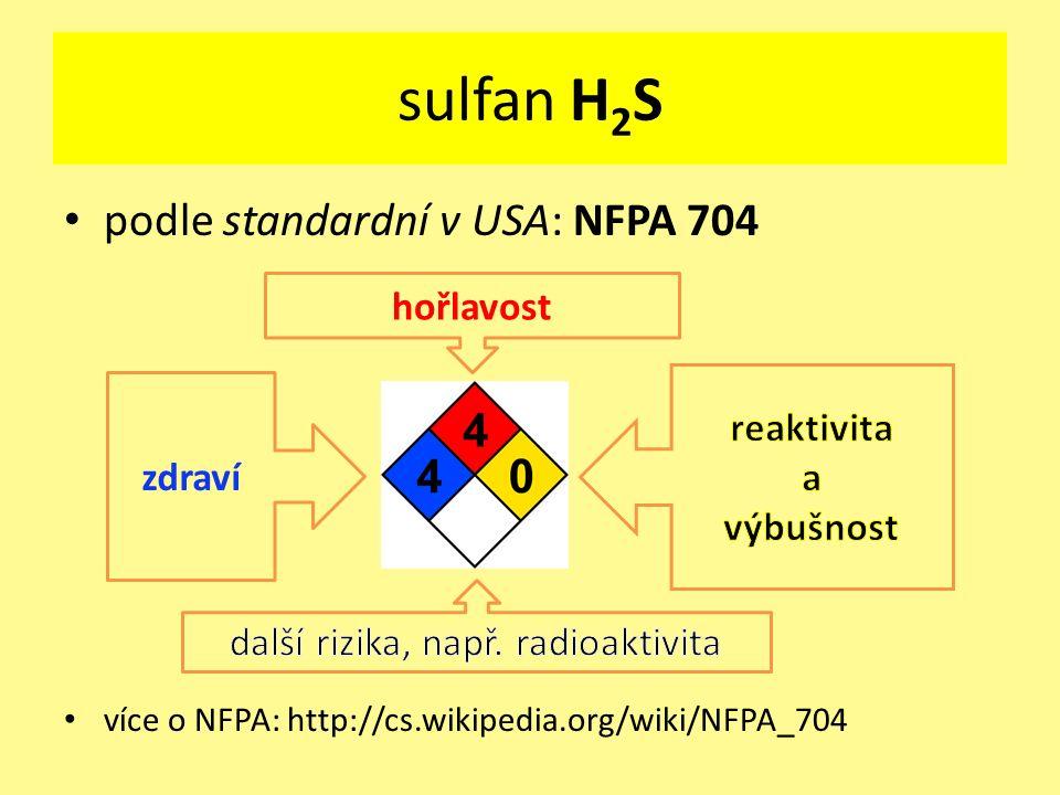 podle standardní v USA: NFPA 704 více o NFPA: http://cs.wikipedia.org/wiki/NFPA_704 zdraví hořlavost sulfan H 2 S