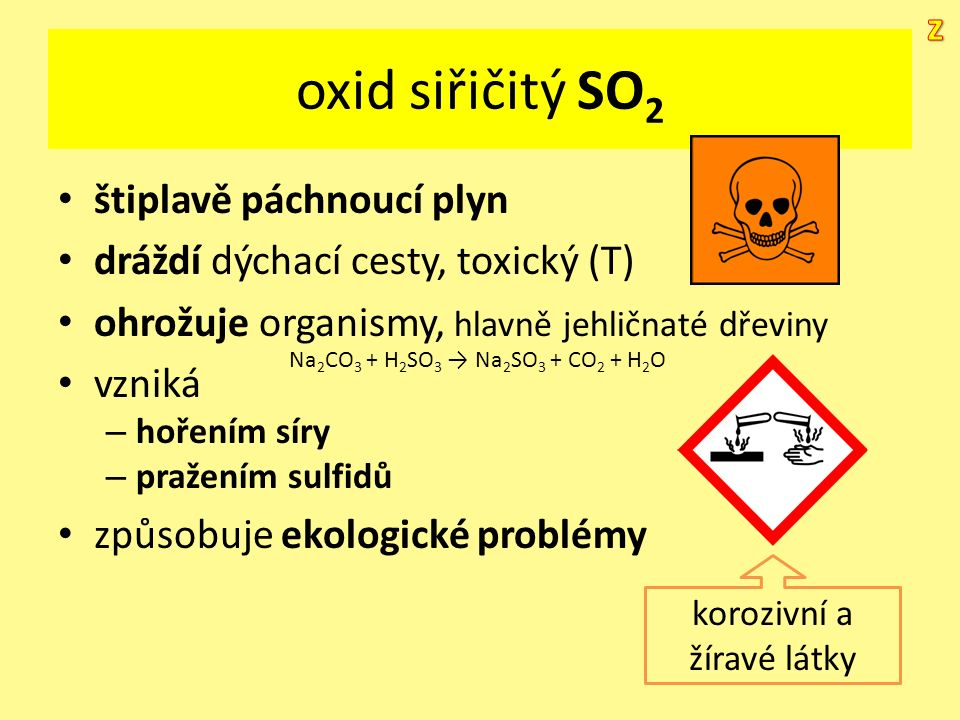 oxid siřičitý SO 2 štiplavě páchnoucí plyn dráždí dýchací cesty, toxický (T) ohrožuje organismy, hlavně jehličnaté dřeviny vzniká – hořením síry – pra