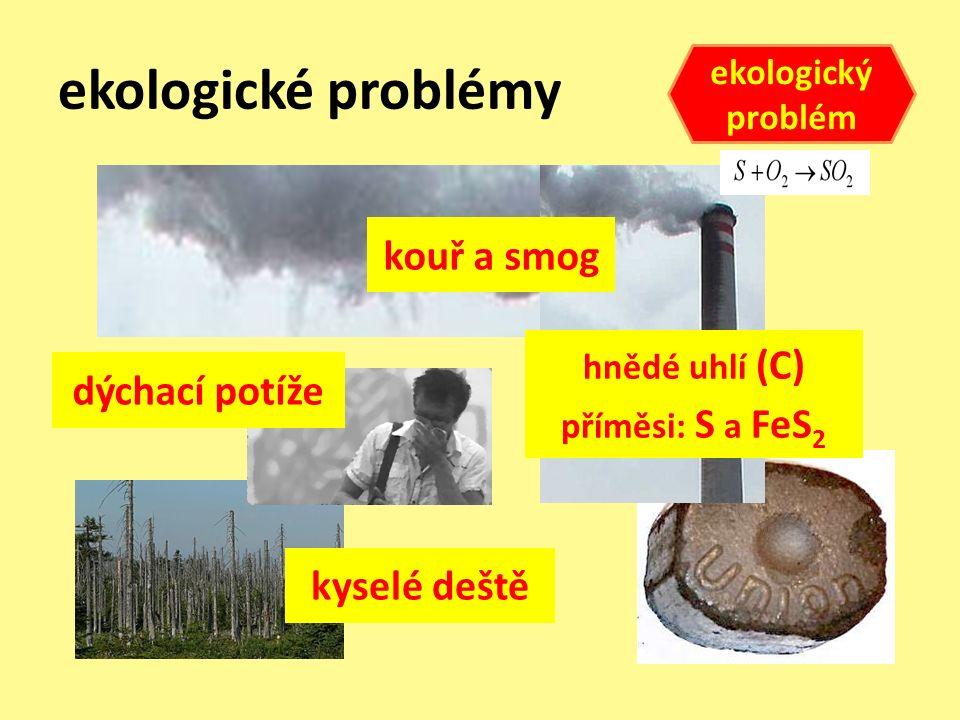 ekologické problémy hnědé uhlí (C) příměsi: S a FeS 2 kouř a smog dýchací potíže kyselé deště ekologický problém