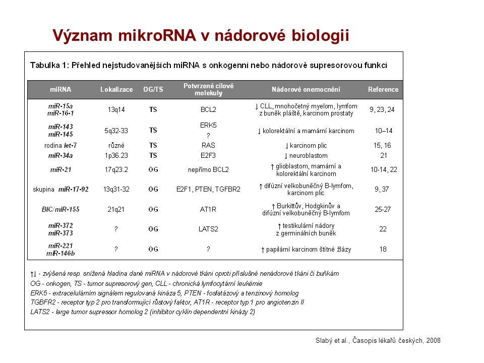 Význam mikroRNA v nádorové biologii Slabý et al., Časopis lékařů českých, 2008