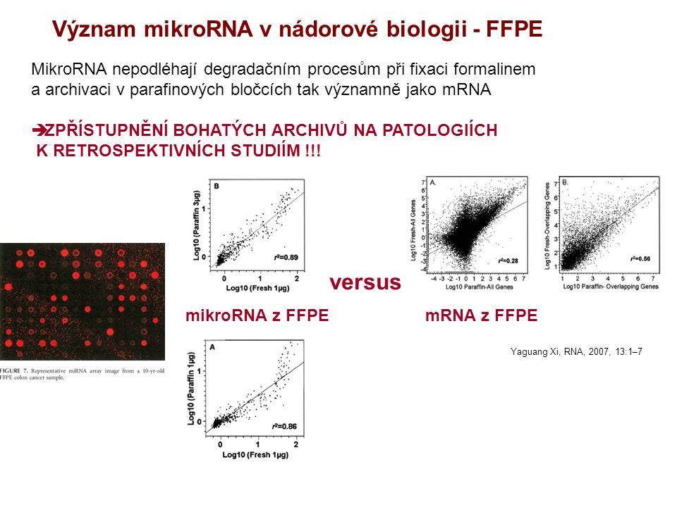 Význam mikroRNA v nádorové biologii - FFPE MikroRNA nepodléhají degradačním procesům při fixaci formalinem a archivaci v parafinových bločcích tak významně jako mRNA  ZPŘÍSTUPNĚNÍ BOHATÝCH ARCHIVŮ NA PATOLOGIÍCH K RETROSPEKTIVNÍCH STUDIÍM !!.