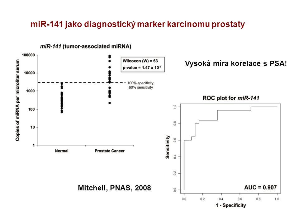 Mitchell, PNAS, 2008 miR-141 jako diagnostický marker karcinomu prostaty Vysoká míra korelace s PSA!