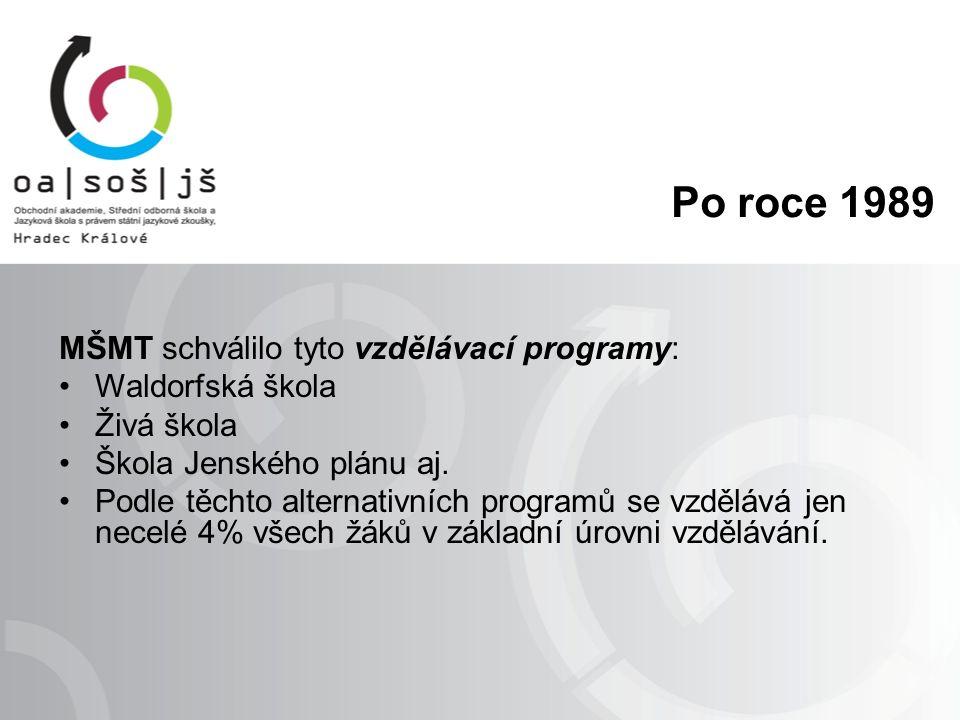 Po roce 1989 MŠMT schválilo tyto vzdělávací programy: Waldorfská škola Živá škola Škola Jenského plánu aj.