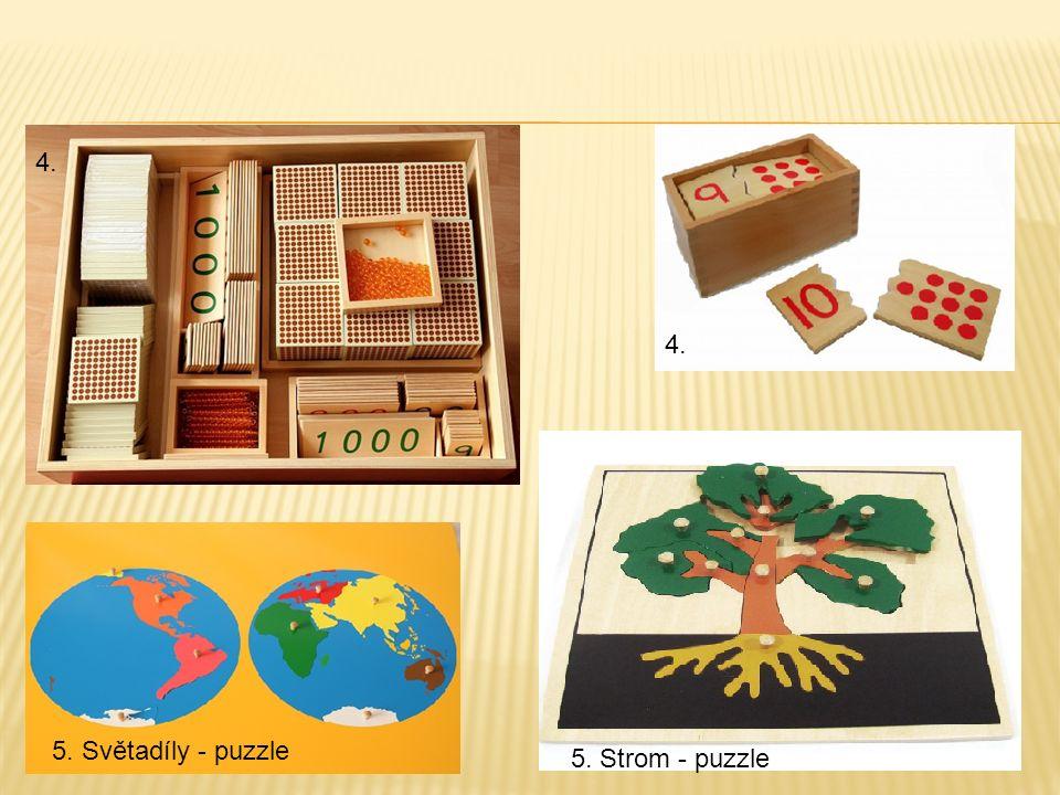 4. 5. Světadíly - puzzle 5. Strom - puzzle 4.