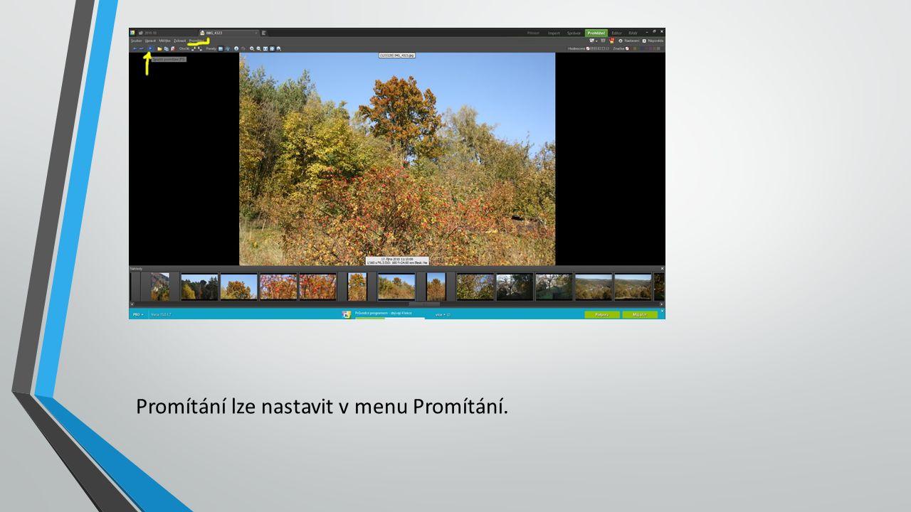 Promítání lze nastavit v menu Promítání.