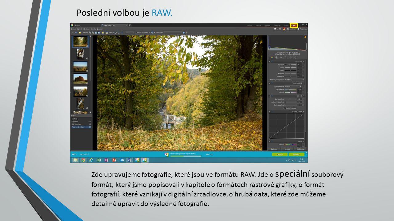 Poslední volbou je RAW. Zde upravujeme fotografie, které jsou ve formátu RAW.