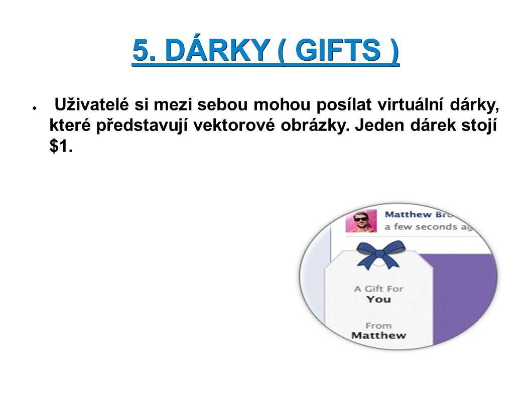5. DÁRKY ( GIFTS ) ● Uživatelé si mezi sebou mohou posílat virtuální dárky, které představují vektorové obrázky. Jeden dárek stojí $1.