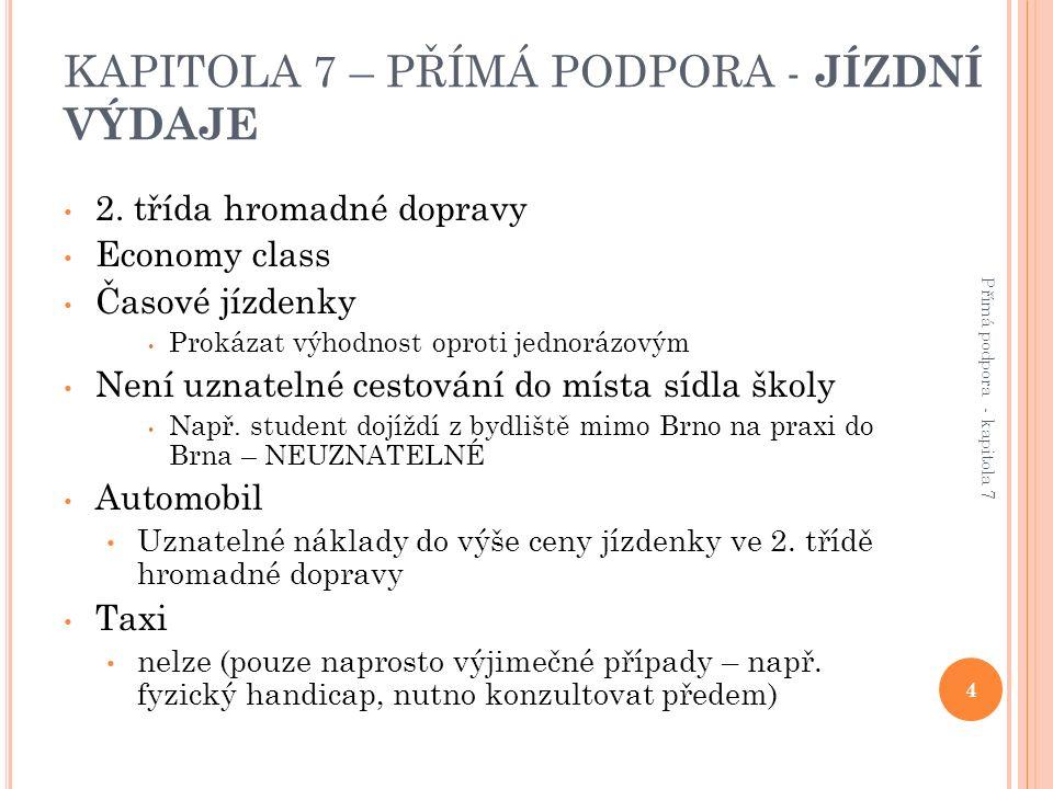 KAPITOLA 7 – PŘÍMÁ PODPORA - JÍZDNÍ VÝDAJE 2.