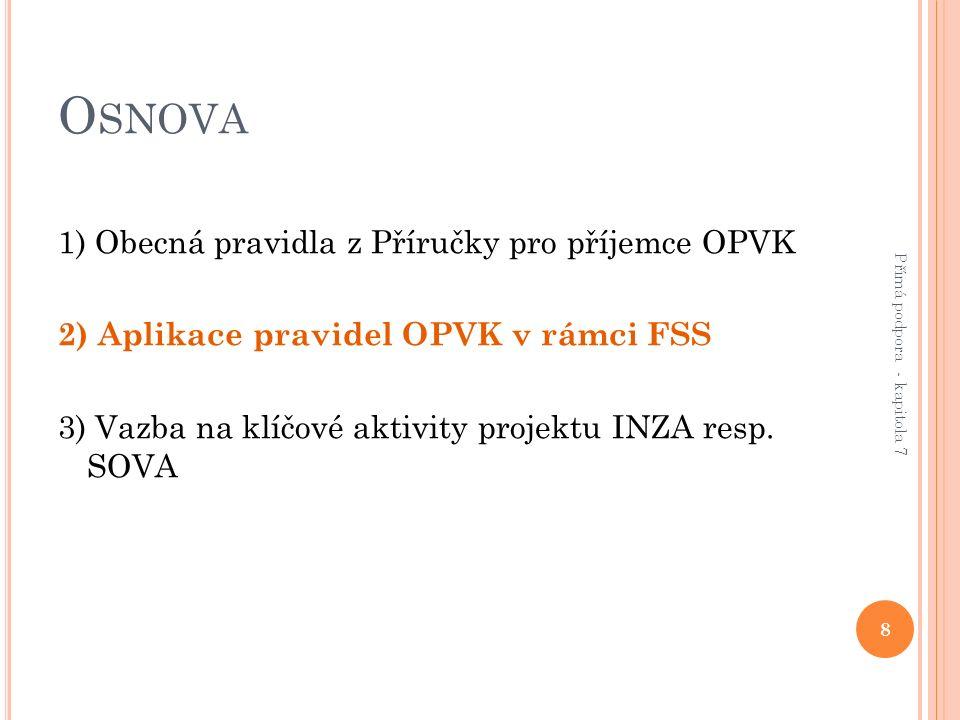 O SNOVA 1) Obecná pravidla z Příručky pro příjemce OPVK 2) Aplikace pravidel OPVK v rámci FSS 3) Vazba na klíčové aktivity projektu INZA resp.