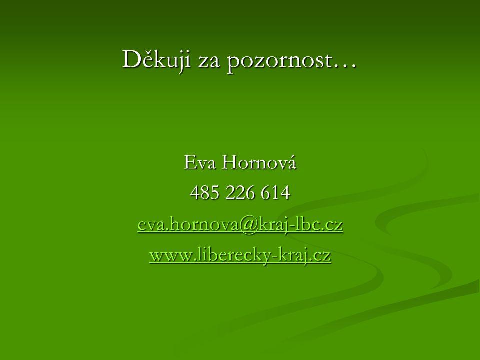 Děkuji za pozornost… Eva Hornová 485 226 614 eva.hornova@kraj-lbc.cz www.liberecky-kraj.cz