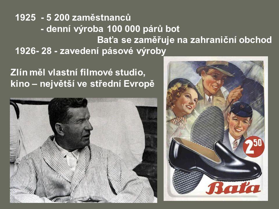 1925 - 5 200 zaměstnanců - denní výroba 100 000 párů bot Baťa se zaměřuje na zahraniční obchod 1926- 28 - zavedení pásové výroby Zlín měl vlastní film
