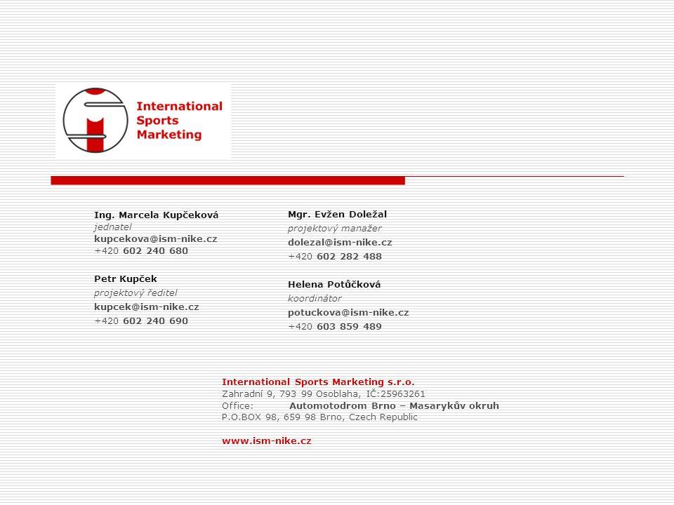 Mgr. Evžen Doležal projektový manažer dolezal@ism-nike.cz +420 602 282 488 Helena Potůčková koordinátor potuckova@ism-nike.cz +420 603 859 489 Ing. Ma