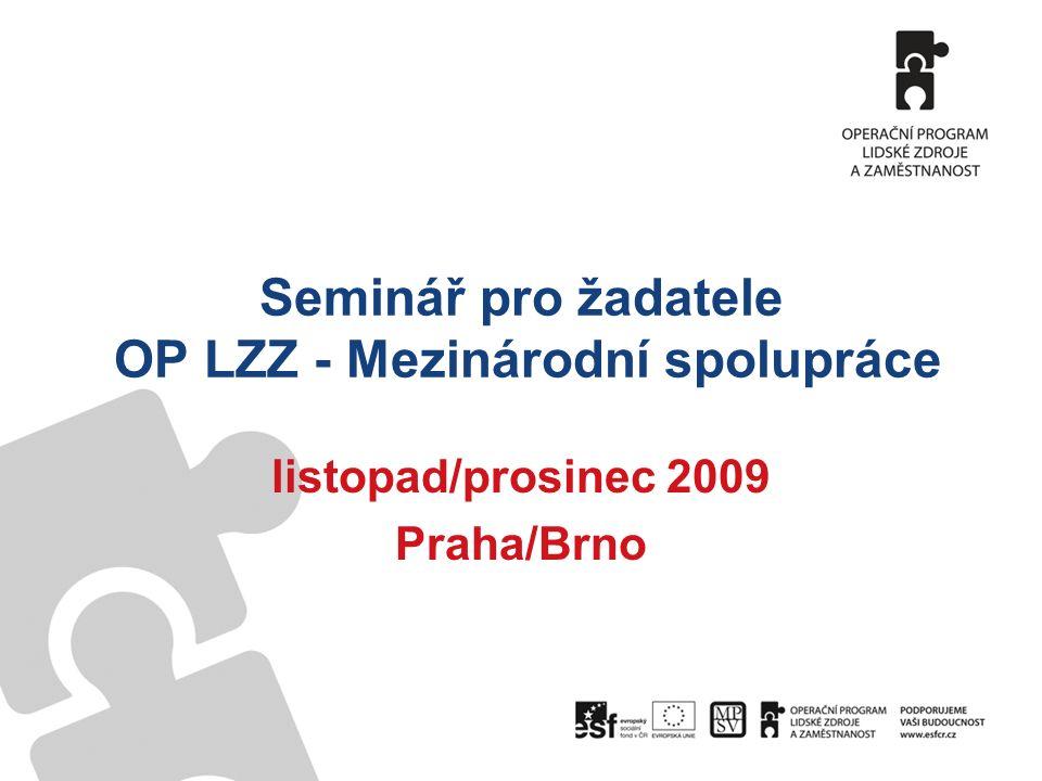 Seminář pro žadatele OP LZZ - Mezinárodní spolupráce listopad/prosinec 2009 Praha/Brno