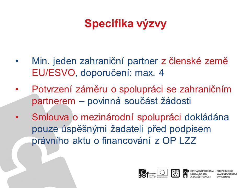 Specifika výzvy Min.jeden zahraniční partner z členské země EU/ESVO, doporučení: max.
