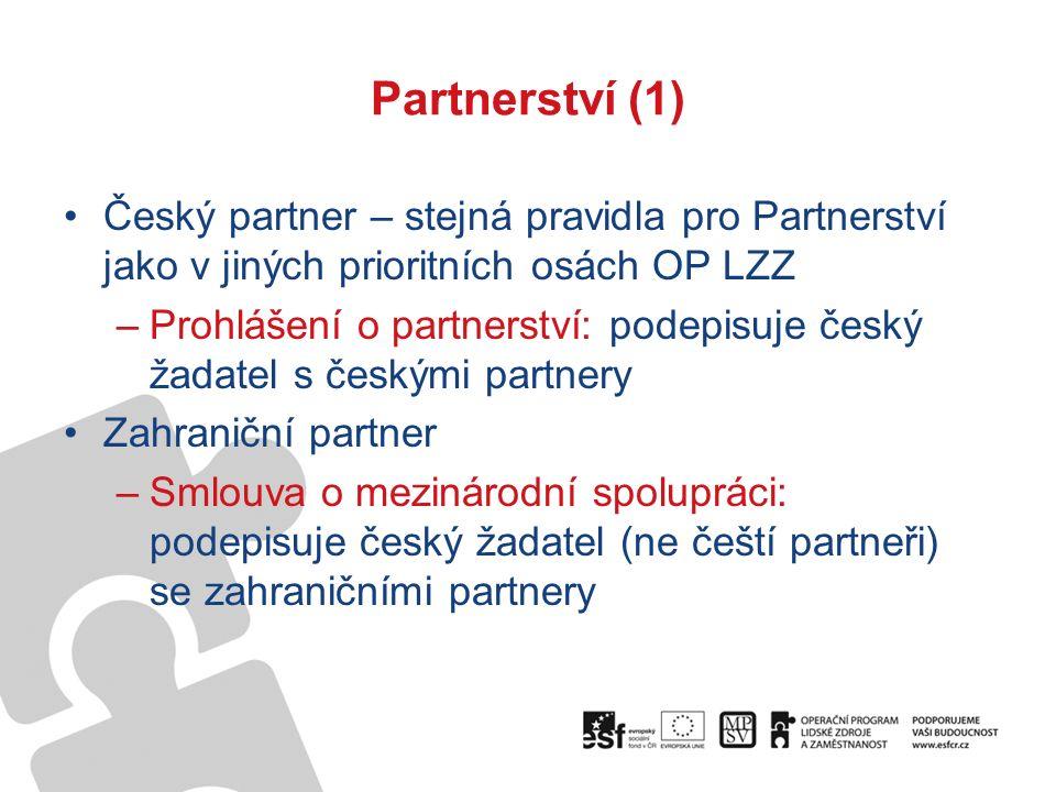 Partnerství (1) Český partner – stejná pravidla pro Partnerství jako v jiných prioritních osách OP LZZ –Prohlášení o partnerství: podepisuje český žadatel s českými partnery Zahraniční partner –Smlouva o mezinárodní spolupráci: podepisuje český žadatel (ne čeští partneři) se zahraničními partnery