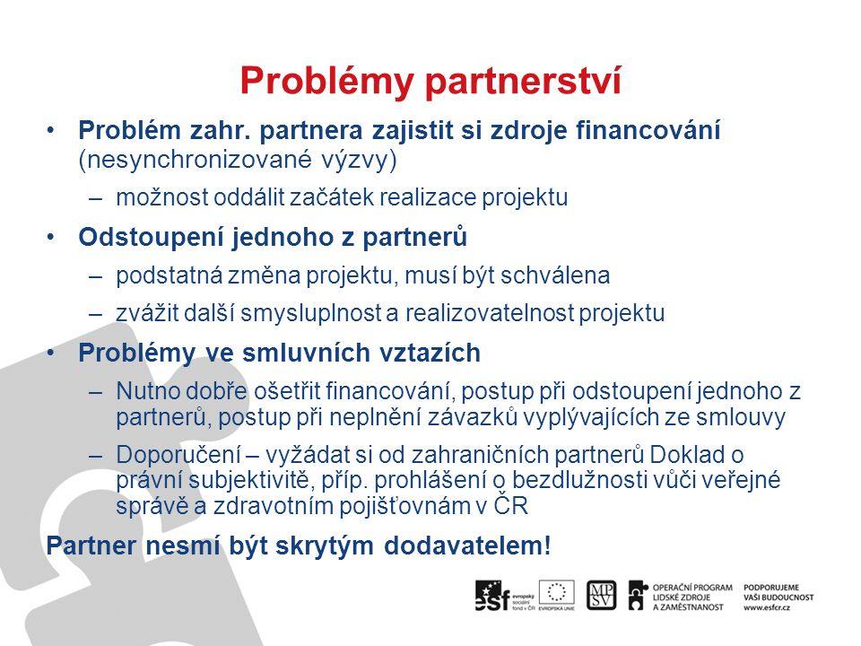 Problémy partnerství Problém zahr.